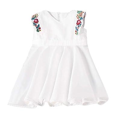 4b30b8c0ab58 PANPANY Ragazze Abiti Vestito Bambina Fiore Blu con Cintura Nozze Festa  Damigella d Onore 4