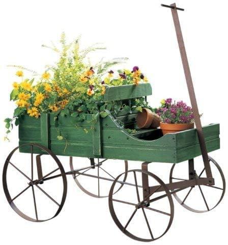 Wagon Wheel maceta Cama carrito de macetero de jardín rústico al aire libre Decor madera: Amazon.es: Jardín