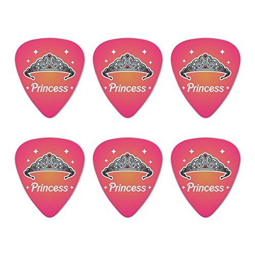 Princess Crown Tiara Pink Background Novelty Guitar Picks Medium Gauge - Set of 6