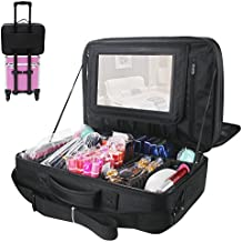 Relavel 3 layer Multi -Functional Professional Makeup Train Case Super Large Makeup bag Organizer for Brush Hair Curler Salon Nail Beauty tool Attach to Trolley With Mirror for Travel Black 17.7