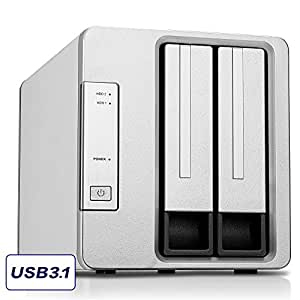 Noontec-TerraMaster D2-310 2 Bay External Hard Drive RAID Enclosure USB3.1 (Gen2, 10Gbps) Type C SUPERSPEED+ RAID Storage Enclosure Compatible with USB3.0 Devices (Diskless)