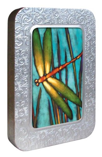 Tree-Free Greetings Noteables Notecards In Reusable Embossed Tin, 12 Card Assortment, Recycled, 4 x 6 Inches, Beautiful Dragonfly, Multi Color (76018)