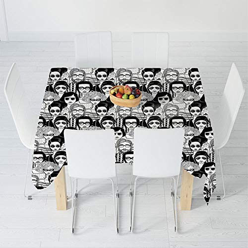 TecBillion Printed Tablecloth,Doodle,for Rectangle Table Kitchen Dinning Party,47.2 X 47.2 Inch,Crowded Street Sunglasses on Everybody Aviators ()