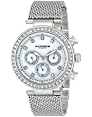 Akribos XXIV Women's AK682SS Lady Crystal-Accented Watch with Stainless Steel Mesh Bracelet