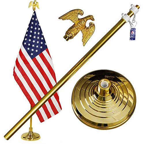 Werrox A-ONE 8FT Telescopic Indoor Flagpole Kit, Heavy Duty US Telescoping Aluminum Flag Pole with Base Stand and Gold Eagle Topper Ornament, Golden   Model FLG - 646  