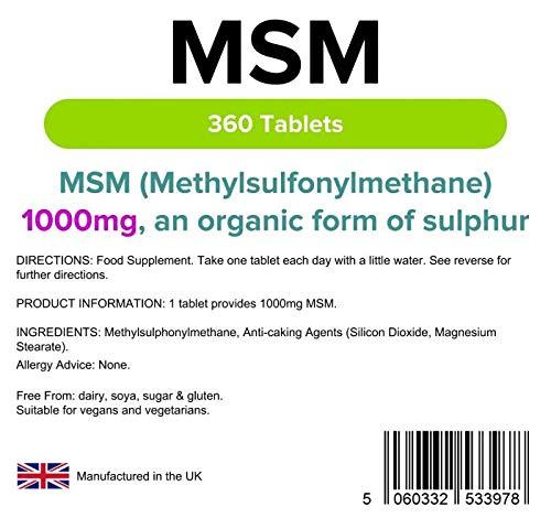 Lindens MSM 1000 mg en comprimidos (metilsulfonilmetano) | 360 Paquete | Fuente orgánica de sulfuro y comprimido diario fácil, apto para veganos y ...