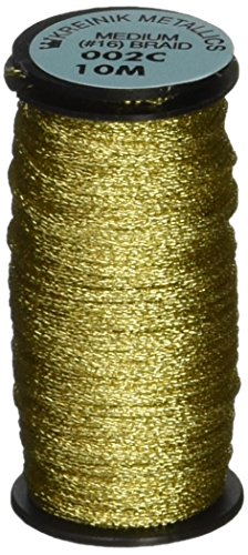 Kreinik No.16 10m Metallic Corded Braid Trim, Medium, Gold