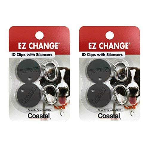 Coastal Pet Products EZ Change Dog ID Clip with Silencer | 2-ID Clips + 2-Silencers per Pack | (2-Pack)