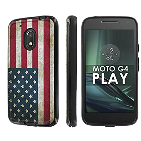 Motorola Moto G Play [4th Gen] Phone Case [NakedShield] [Black/Black] Dual Armor ShockProof Case - [Flag USA] for Moto [G4 (Motorola G Glass Covers)