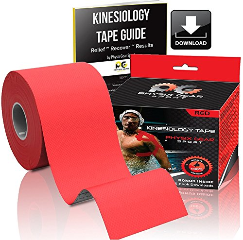 Physix Gear Sport Kinesiology Tape - Free Illustrated E-Guide - 16ft Uncut Roll - Best Pain Relief Adhesive for Muscles, Shin Splints Knee & Shoulder - 24/7 Waterproof Therapeutic Aid (1PK RED) by Physix Gear Sport (Image #1)