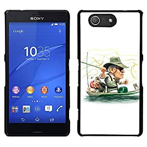 MOBMART Slim Sleek Hard Back Case Cover Armor Shell FOR Sony Xperia Z3 Compact - Funny Fisherman