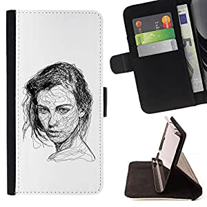 BullDog Case - FOR/LG G3 / - / GIRL BLACK WHITE PEN SKETCH ART DRAWING /- Monedero de cuero de la PU Llevar cubierta de la caja con el ID Credit Card Slots Flip funda de cuer