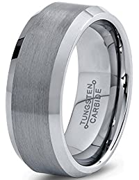 Tungsten Wedding Band Ring 8mm for Men Women Comfort Fit Beveled Edge Brushed