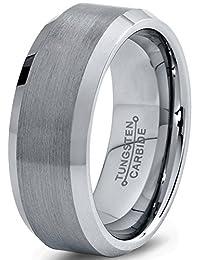 Tungsten Wedding Band Ring 8mm for Men Women Comfort Fit Beveled Edge Brushed Lifetime Guarantee