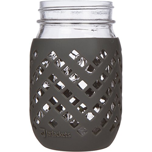 JarJackets Silicone Mason Jar Sleeve - Fits 16oz (1 pint) REGULAR-Mouth Jars | Package of 1 (Charcoal))