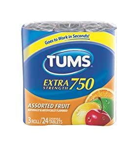 Tums Extra Strength 750, Assorted Fruit,  3 Rolls - 24 Tablets per Pack (Pack of 4)