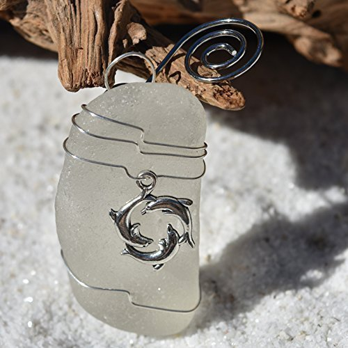 Custom Surf Tumbled Sea Glass Ornament with a Silver Trio of Dolphins Charm - Choose Your