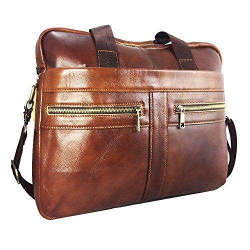 Laptoptasche für TREKSTOR SurfBook W1 Businesstasche / Aktentasche / Notebooktasche mit Schultergurt aus PU Leder - LB Braun 2