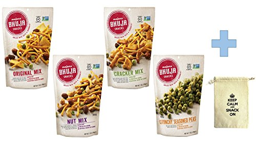 Bhuja Original Mix - Bhuja Snacks 4 Flavors Variety Pack(1 Original Mix, 1 Nut Mix, 1 Cracker Mix, 1 Crunchy Seasoned Peas ) 7 oz Pack of 4 With Snack Pouch