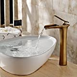 Fapully Single Lever Single Handle Waterfall Vanity Touch On Bathroom sink Faucet Vessel Sink Mixer Water Tap,Lead Free Antique Brass