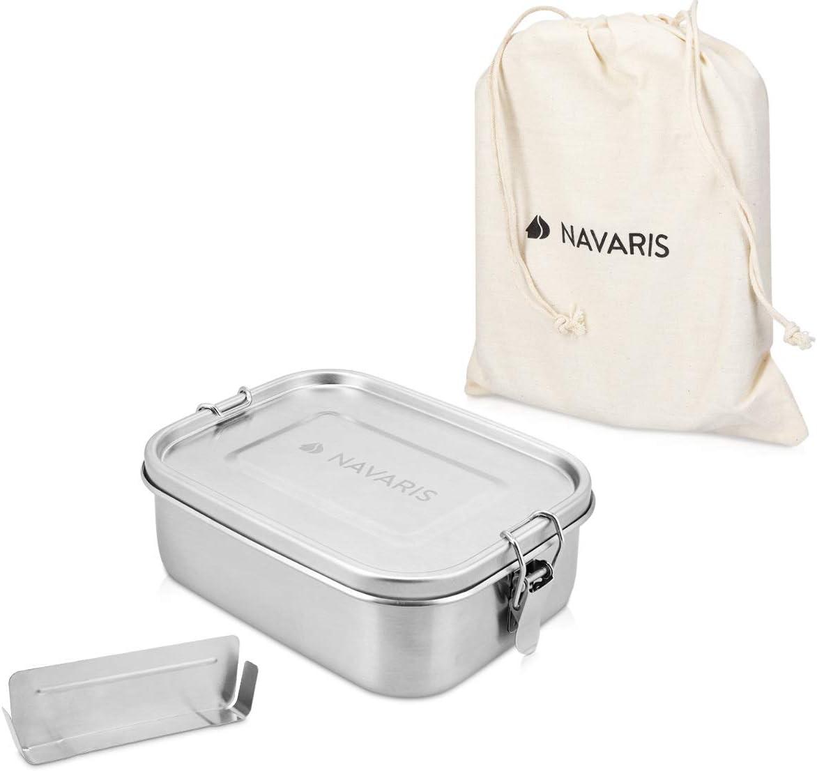 Navaris Fiambrera de Acero Inoxidable para Comida - Envase hermético con Separador y Tapa - Recipiente Rectangular de 800 ML - Lunch Box de Metal