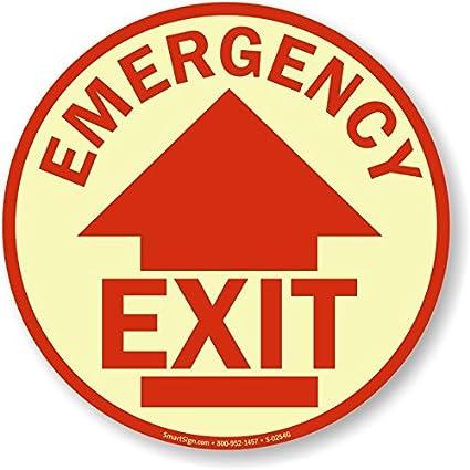 Amazon.com: Salida de emergencia (con flecha arriba) cartel ...