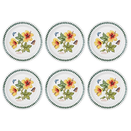 Portmeirion Exotic Botanic Garden Bread and Butter Plate with Hibiscus Motif, Set of 6 by Portmeirion
