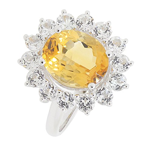 BL Jewelry Sterling Silver Genuine Citrine & White Topaz Coctail Halo Ring (4 4/5 CT.T.W)