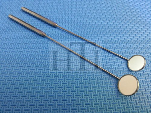 SET OF 2 LARYNGEAL BOILABLE HYGIENE DENTAL MIRRORS WITH HANDLE #4 #5 (HTI BRAND)