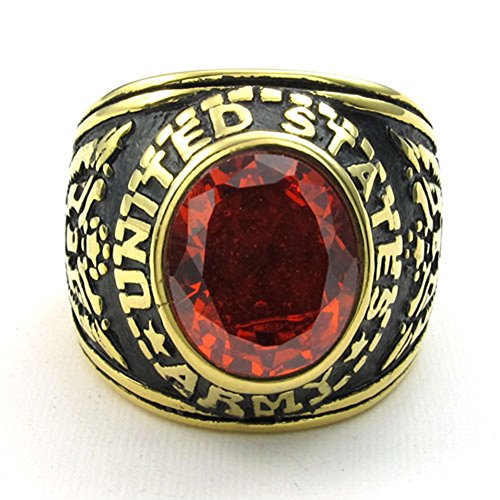 - TEMEGO Mens Stainless Steel Red Cubic Zirconia Oval Garnet Gemstone Ring,Vintage Eagle US Army Symbol Band