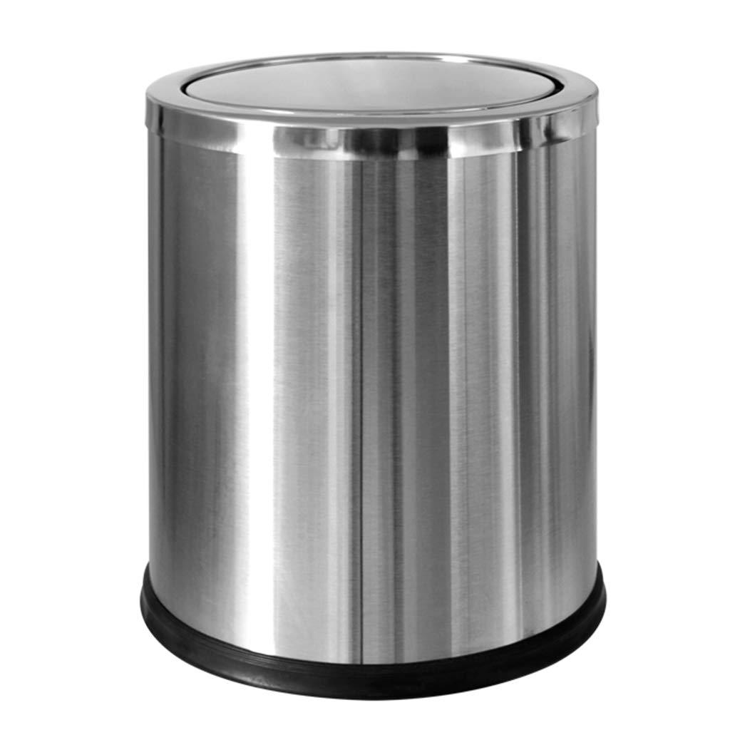 Wghfwx Stainless Steel Shake Lid Trash Can Swing Household Waste Bin, Hotel Hotel Living Room Sanitary Bucket 12L Silver