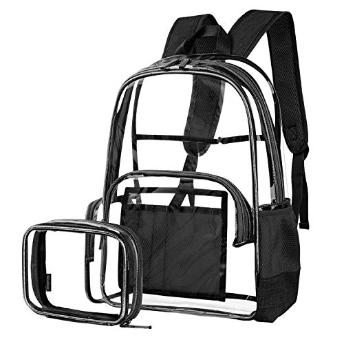 Clear Backpack for Women and Men Fit 15.6 inch Laptop College Bookbag for Student Cute School Bag for Kid Girl Boy Transparent PVC Daypack with Accessory Bag for Travel Work Outdoor Activities,Black by QBCase