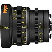 Veydra V1-25T22SONYEM Mini Prime 25mm T2.2 Sony E Metric Cinema Lens with Manual Focus, Black
