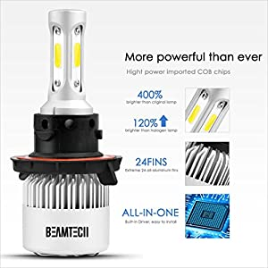 BEAMTECH H13 LED Headlight Bulbs, 6500K 8000 Lumens Extremely Super Bright 9008 Hi/Low COB LED Chips Conversion Kit,Xenon White