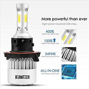 BEAMTECH H13 LED Headlight Bulbs, 6500K 8000 Lumens Extremely Super Bright 9008 Hi/Low COB LED Chips Conversion Kit,Xenon White