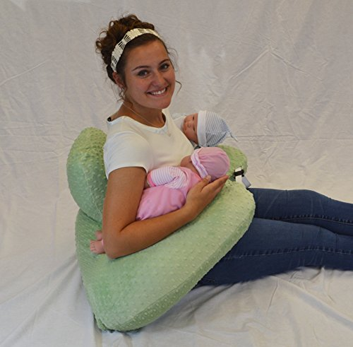 The TWIN Z Pillow - Lime Green -The Only 6 in 1 Twin Pillow Breastfeeding, Bottlefeeding, Tummy Time & Support! A Must Have for Twins! - Lime Green