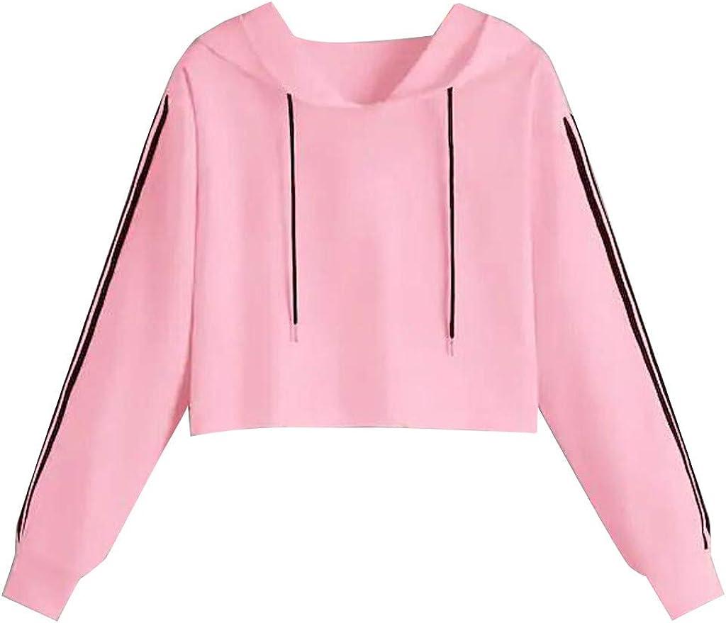 POTO Women Pullover Tops,Womens Letter Print Sweatshirt Crop Top Hoodies Teen Girls Fashion Solid Long Sleeve Tee Shirts