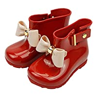miaoshop Waterproof Child Rubber Jelly Soft Infant Shoe Girl Baby Rain Boots Kids with Bow Children