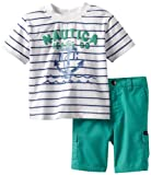 Nautica Baby Boys' Striped Jeans Co Short Set, Kingfisher, 12 Months