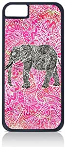 Tribal-Aztec-Elephant-Pink Background - Case for the Apple Iphone 5-5s Universal-Hard Black Plastic Outer Shell with Inner Soft Black Rubber Lining-(NOT 5C)