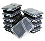 Microwaveable 2 Compartment Food Container, Divided Plate, Lid, Bento Box, Lunch Tray with Cover- 10 Pack