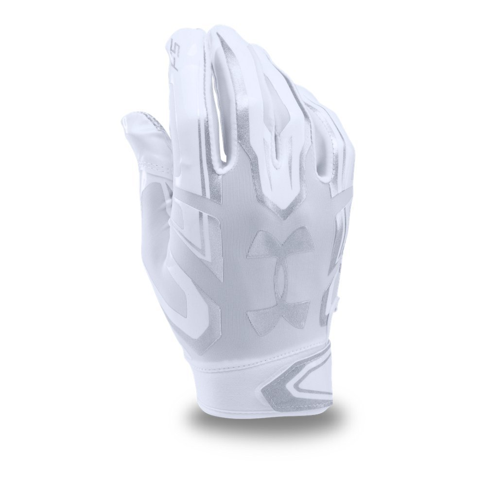 Under Armour Mens F5 Football Gloves, White/Metallic Silver, Small
