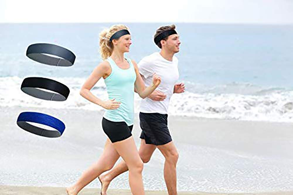 LiLiGo Sweatbands Headband for Sports Running Working Out 3Pack Sweat Wicking Hair Bands