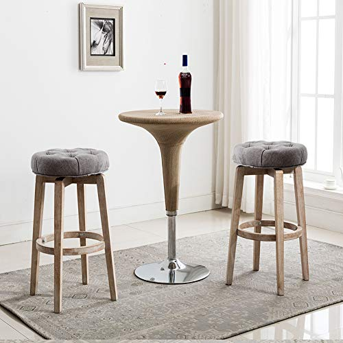 "Chairus 26"" Swivel Counter Heiget Stool, Upholstered Round Bar Stool with Tufted Button & Distressed Wood Legs - Grey"