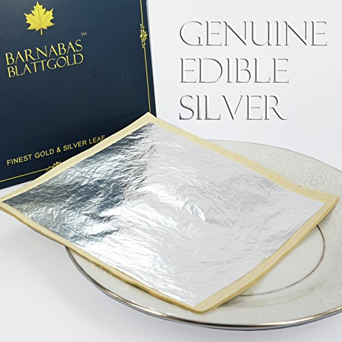 Edible Genuine Silver Leaf Sheets - by Barnabas Blattgold - Large 4.4 inches - 25 Sheets - Loose Leaf (Edible Sheets Silver)