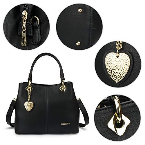 ajustable avec doré Bandoulière Cabas Noir Cuir D'épaule à pendentif Main bandoulière PU Femme cœur Tout Sac Fourre Sac 6ORaqxt