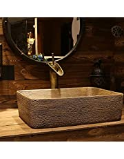 Bathroom Vessel Sink, 47 * 36 * 14cm Above Counter Rectangular Countertop Handmade Ceramic Sink for Cabinet Lavatory Vanity (with Faucet)