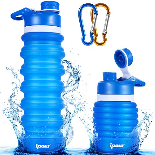 IPOW Collapsible Silicone Water Bottle Foldable Roll Up Water Bottle 26OZ FDA Approved Gym Water Bottle Leak Proof Twist Cap Sports Water Bottle Lightweight Travel Water Bottle