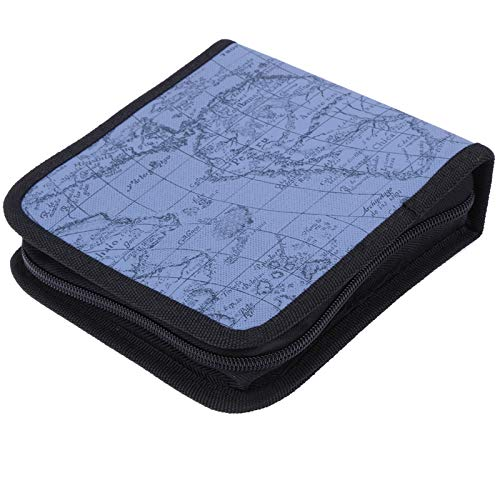 JULUJ 40pcs DVD Capacity World Map Pattern CD DVD Disc Storage Holder Dustproof Carry Case Organizer Sleeve Wallet Cover Bag Box ()