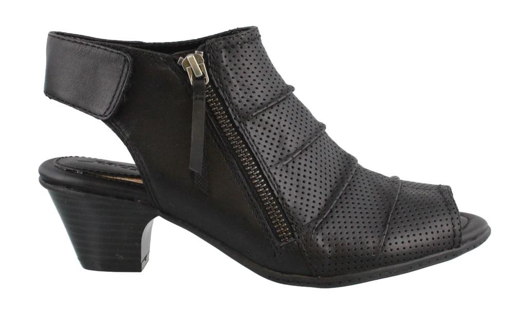 Earth Women's Hydra Mid Heel Sandal,Black Soft Leather,US 9 W